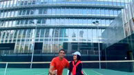 سپهر حیدری و همسر فشنش کنار برج خلیفه +عکس