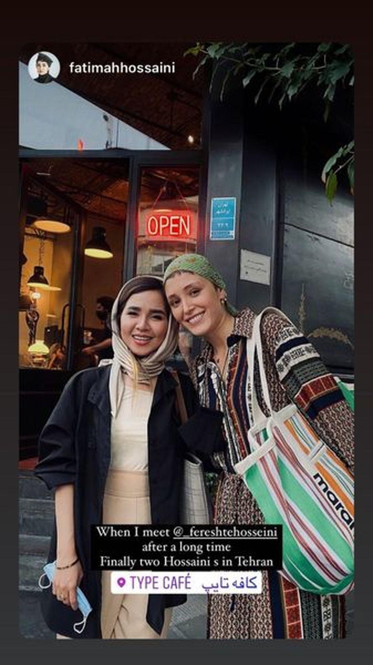 فرشته حسینی بدون حجاب و با پیراهن لختی در کافه +عکس