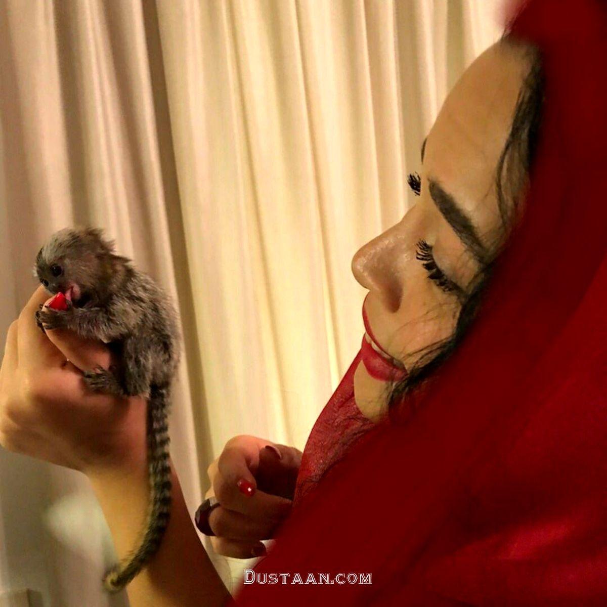 روسری قرمز و آرایش عجیب ملیکا شریفی نیا+عکس