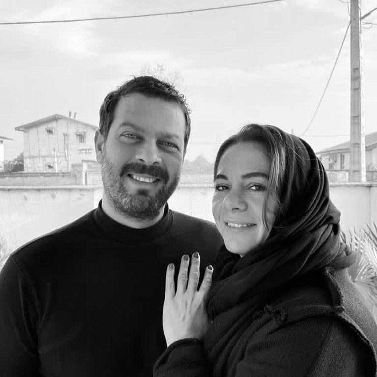 پژمان بازغی و همسرش در آغوش یکدیگر + عکس عاشقانه