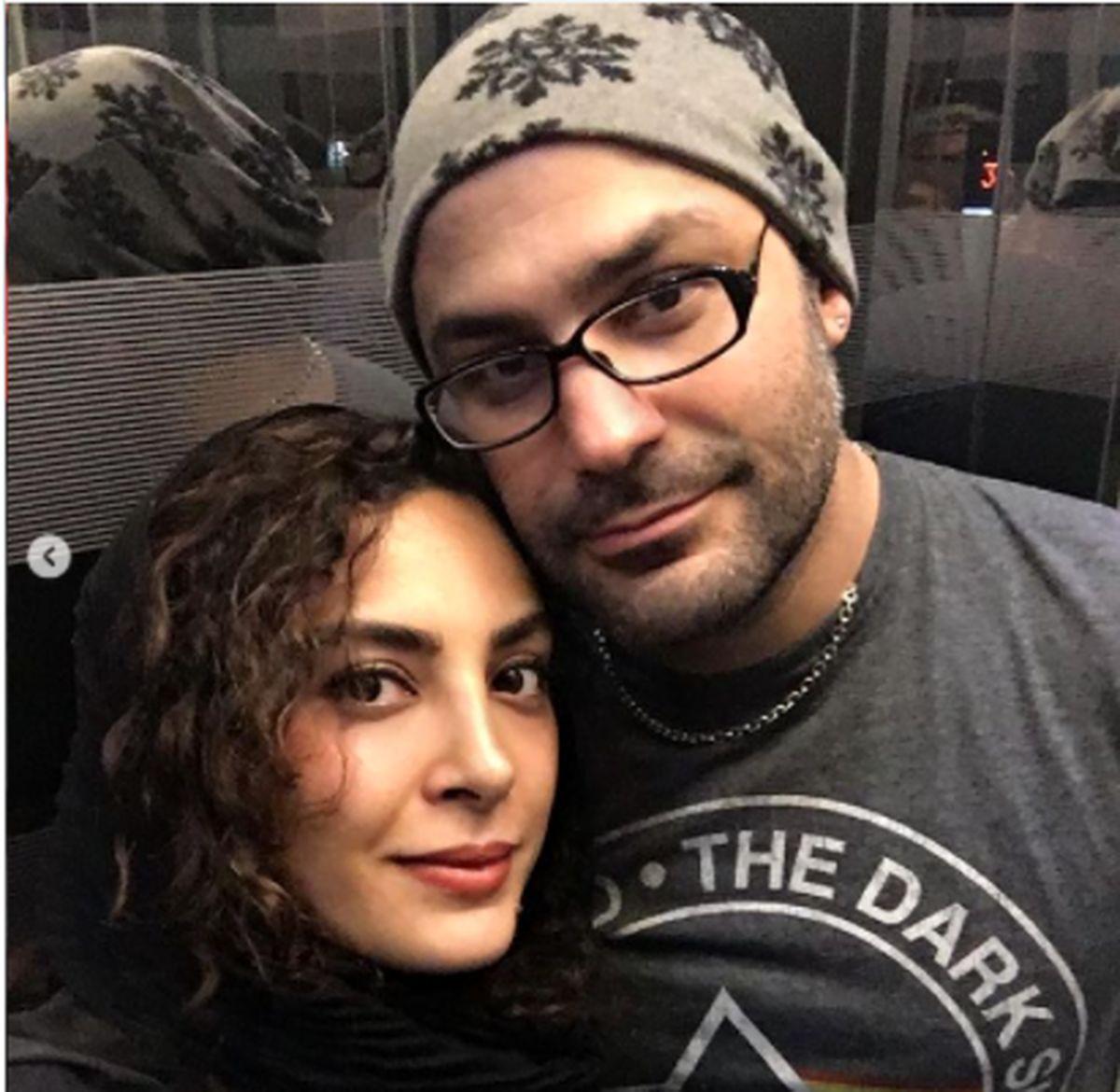 حدیثه تهرانی و همسرش در آغوش هم در آسانسور + عکس