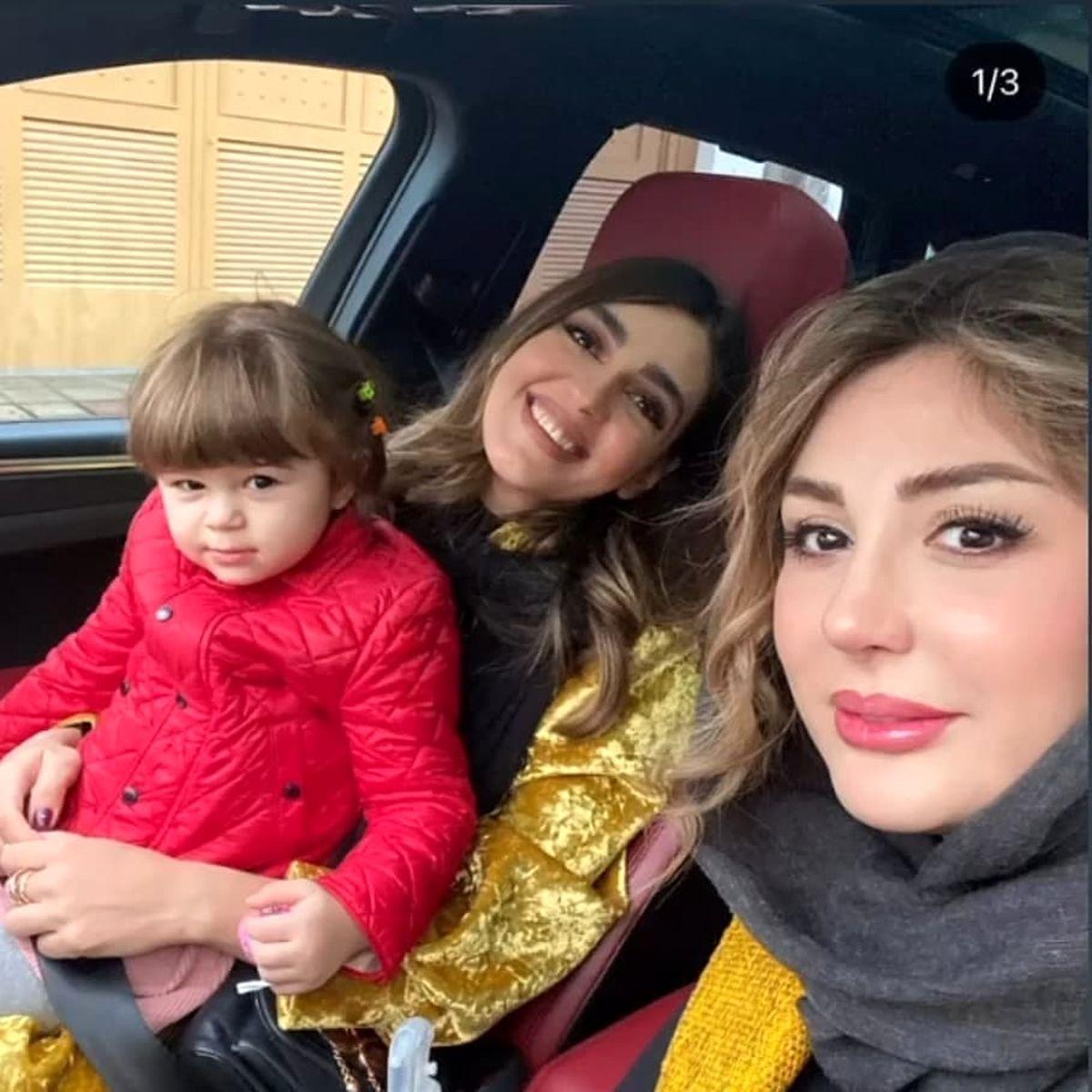 نیوشا ضیغمی و دخترش با خودری میلیاردی اش + عکس