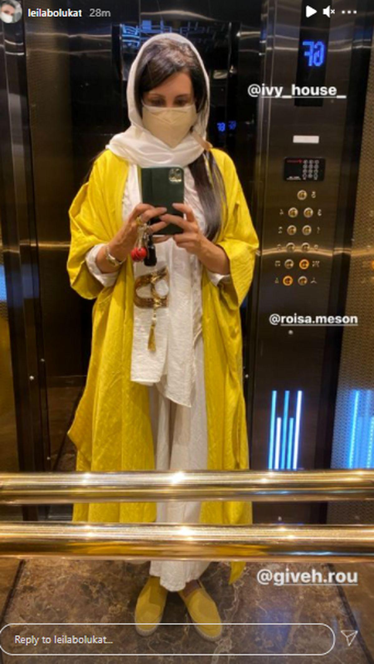 لیلا بلوکات با موهای باز و بلند در آسانسور + عکس