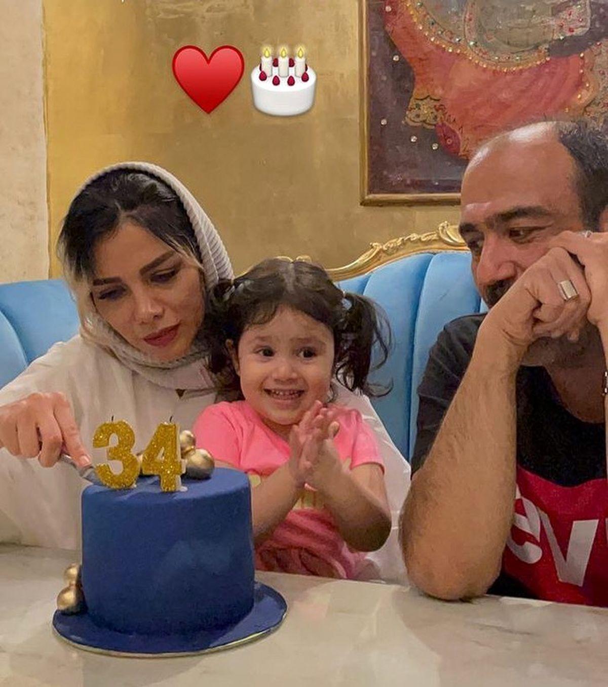 مهران غفوریان و دخترش در جشن تولد همسرش + عکس