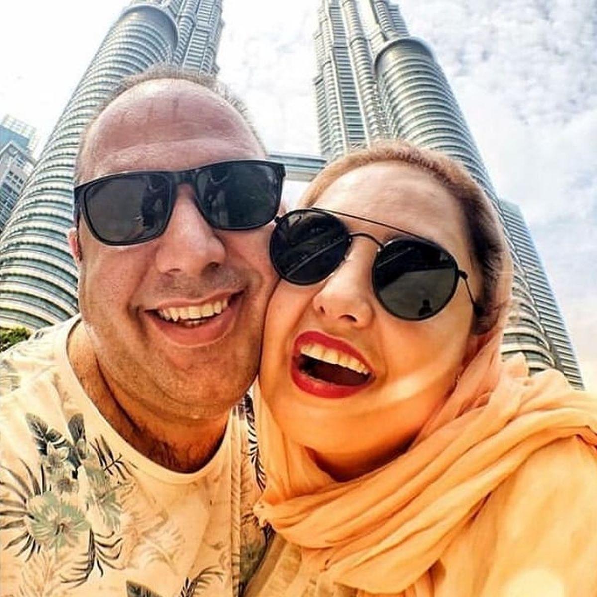 عشق و عاشقی نرگس محمدی و علی اوجی روی کشتی تفریحی + فیلم