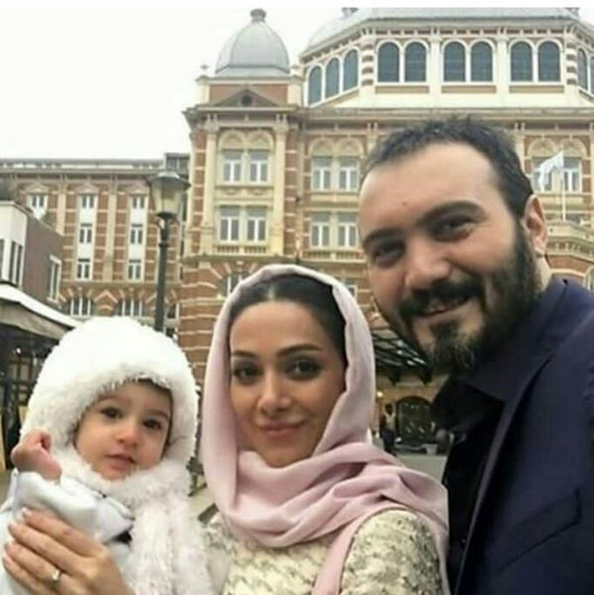 اروپاگردی کامبیز دیرباز و همسر و دخترش + عکس