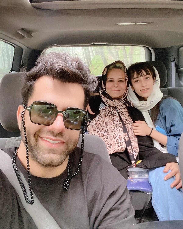 خودروی گران قیمت رضا بهرام و خانواده اش /عکس