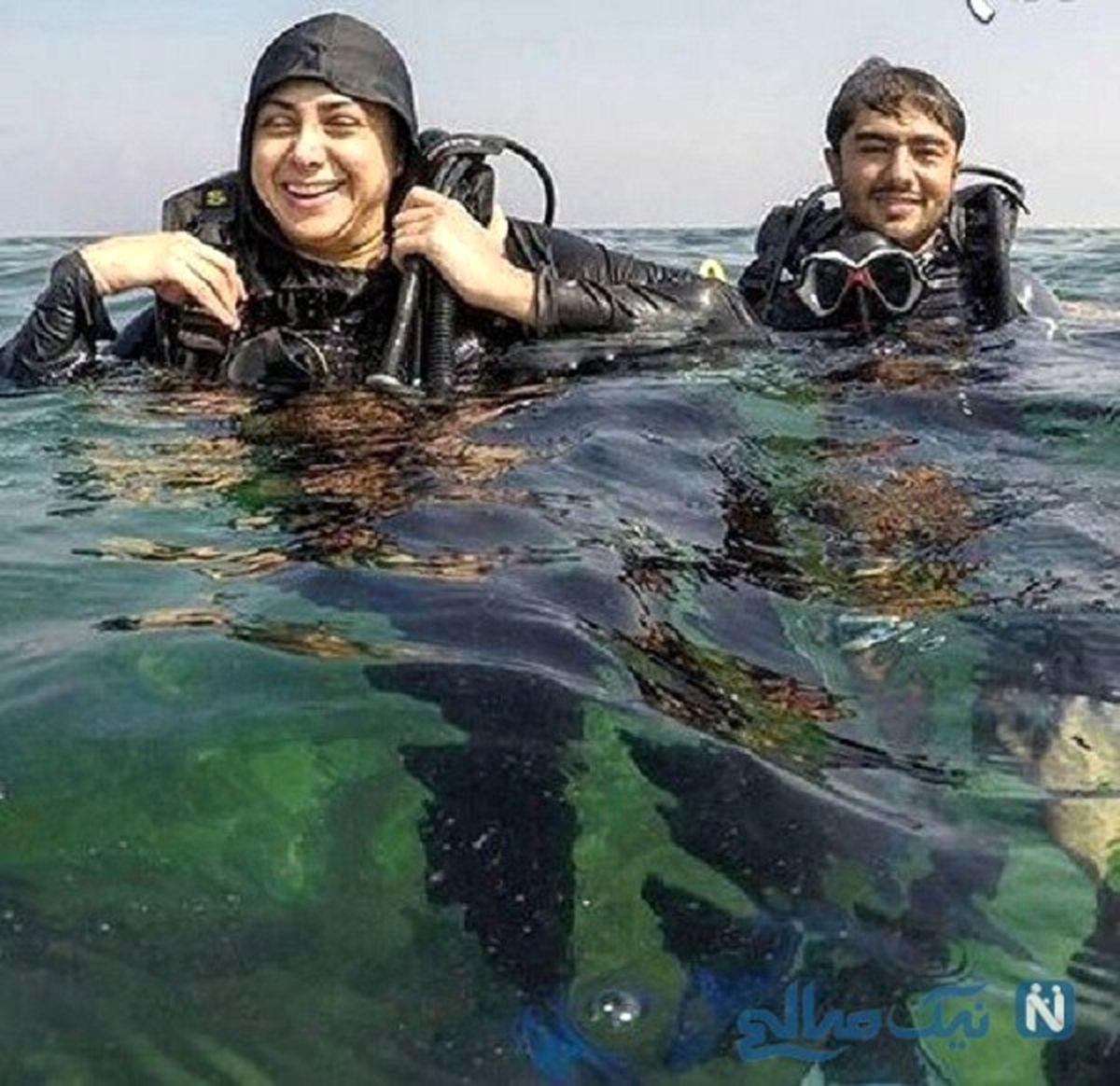 عکس دیده نشده از شنای آزاده صمدی در استخر
