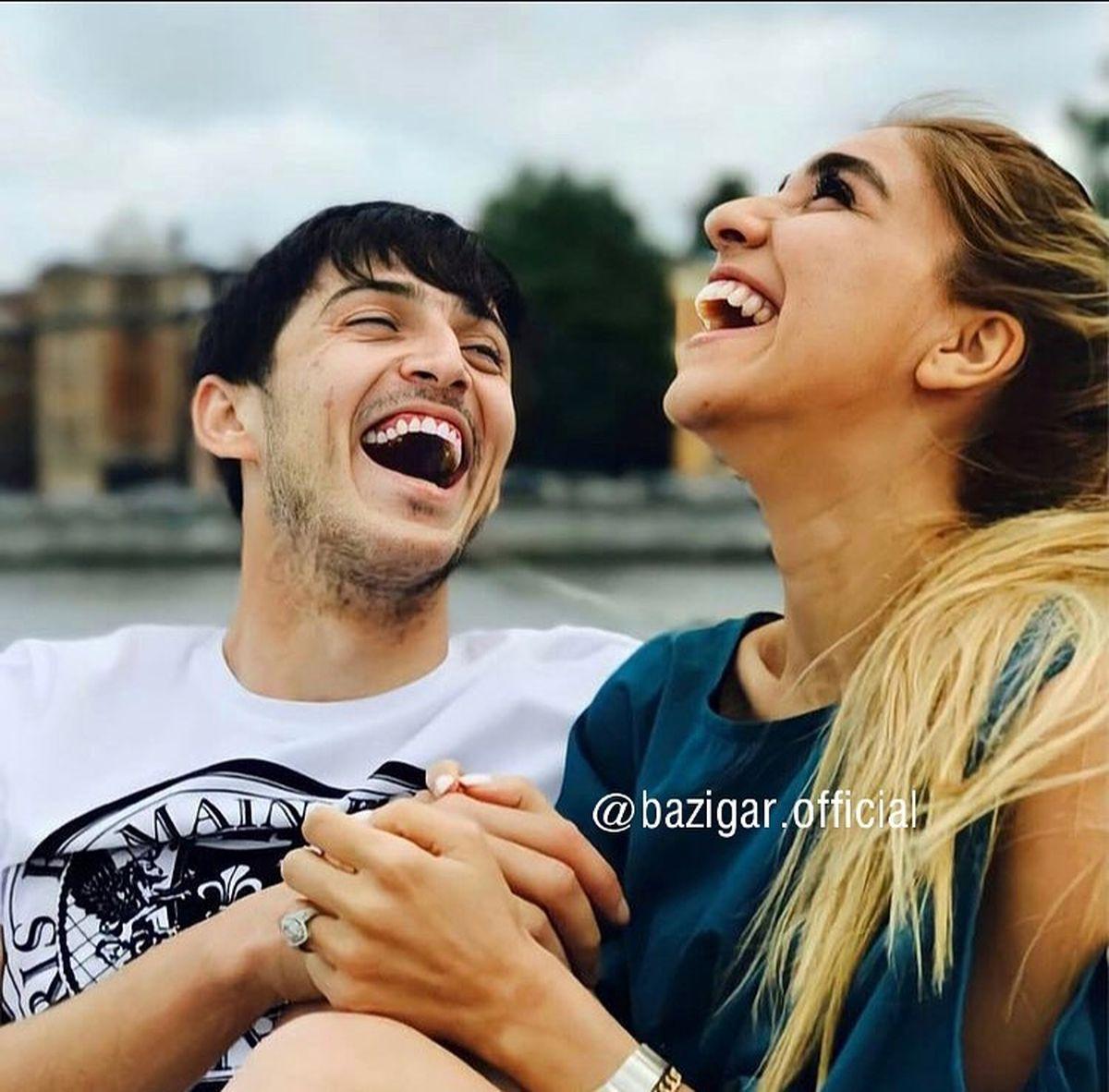 خنده و خوشگذرانی سردار آزمون با نامزدش +عکس